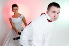 Bride and Groom funny expressions Royalty Free Stock Image