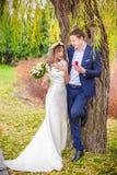 Bride groom garden tree Royalty Free Stock Photography