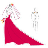 Bride and groom and garland. Illustration of bride and groom, vector Royalty Free Stock Image