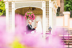 Bride and groom in the gazebo Stock Photography