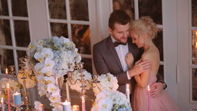 Bride and groom. Gentle embrace the bride and groom during the wedding ceremony stock footage