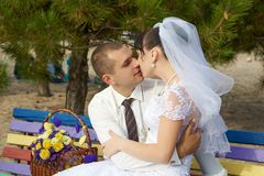 Bride and groom gentle kiss Royalty Free Stock Photography