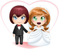 Bride And Groom Getting Married 2. A illustration of a bride and groom dressed for their wedding day vector illustration