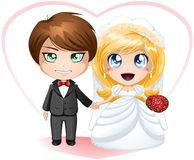 Bride and Groom Getting Married. A illustration of a bride and groom dressed for their wedding day stock illustration