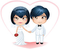 Bride And Groom Getting Married 3. A illustration of a bride and groom dressed for their wedding day vector illustration