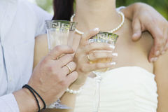 Bride and groom with glasses Royalty Free Stock Image