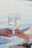Bride and groom with glasses of champagne Stock Image