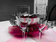 Bride and groom glasses royalty free stock photos
