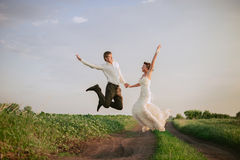 The bride and groom go and smile Royalty Free Stock Photo
