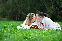 Bride and groom are on the grass Royalty Free Stock Photo