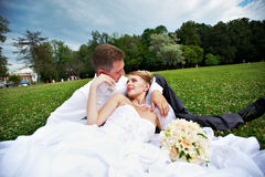 Bride and groom on grass Royalty Free Stock Photography