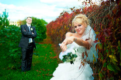 Bride and groom of green park. Bride and groom on the background of green park Stock Photography