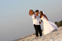 Bride and groom with the guitar Stock Image