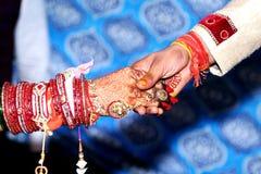 Bride & Groom Hand` Togethe. R in Indian Wedding stock images