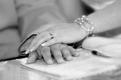 Bride and groom hands. Over wedding contract Stock Image