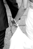 Bride and groom hands. Black and white Stock Image