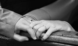 Bride and groom hands, marriage Royalty Free Stock Photo