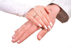 Bride and groom hands over Royalty Free Stock Images