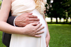 Bride and groom hands on pregnant belly Royalty Free Stock Images