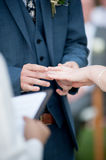 Bride and groom hands with rings Stock Image
