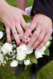 Bride and groom hands and wedding bouquet Stock Image