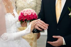 Bride And Groom Hands with Wedding Rings Royalty Free Stock Images