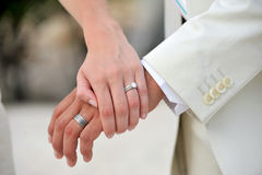 Bride and groom hands with wedding rings Royalty Free Stock Image