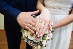 Bride and groom hands with wedding rings Stock Image