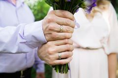 Bride and groom hands with wedding rings Royalty Free Stock Photos