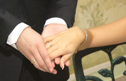 Bride and groom hands with wedding rings closeup Royalty Free Stock Photo