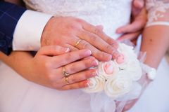 Bride and groom hands with wedding rings. Bride and groom hands with golden wedding rings Stock Image