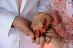 Bride and groom hands Stock Photos