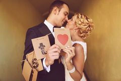 Bride and groom having fun Royalty Free Stock Photography