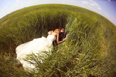 Bride and groom having fun on the fields Stock Photos