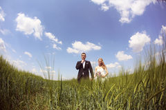 Bride and groom having fun on the fields Stock Photo