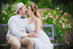 Bride and groom having fun Stock Images