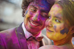 Bride and groom having fun on their wedding day Stock Photo
