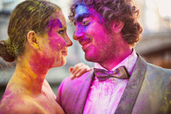 Bride and groom having fun on their wedding day Royalty Free Stock Images