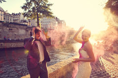 Bride and groom having fun on their wedding day Royalty Free Stock Image