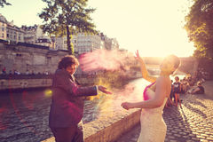 Bride and groom having fun on wedding day Royalty Free Stock Images