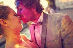 Bride and groom having fun on wedding day Stock Photography