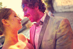 Bride and groom having fun on wedding day Royalty Free Stock Photo