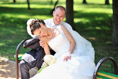Bride and groom having a good time together Royalty Free Stock Photos