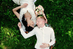 Bride and groom having a romantic moment Stock Photo