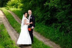 Bride and groom having a romantic moment Stock Images