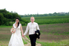 Bride and groom having a romantic moment Royalty Free Stock Photography