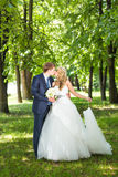 Bride and groom having a romantic moment on their Royalty Free Stock Photo