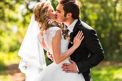 Bride and groom having a romantic moment on their wedding day.  Royalty Free Stock Photos
