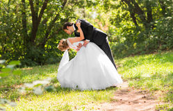 Bride and groom having a romantic moment on their wedding day Royalty Free Stock Photo