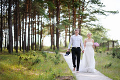 Bride and groom having a walk Stock Image